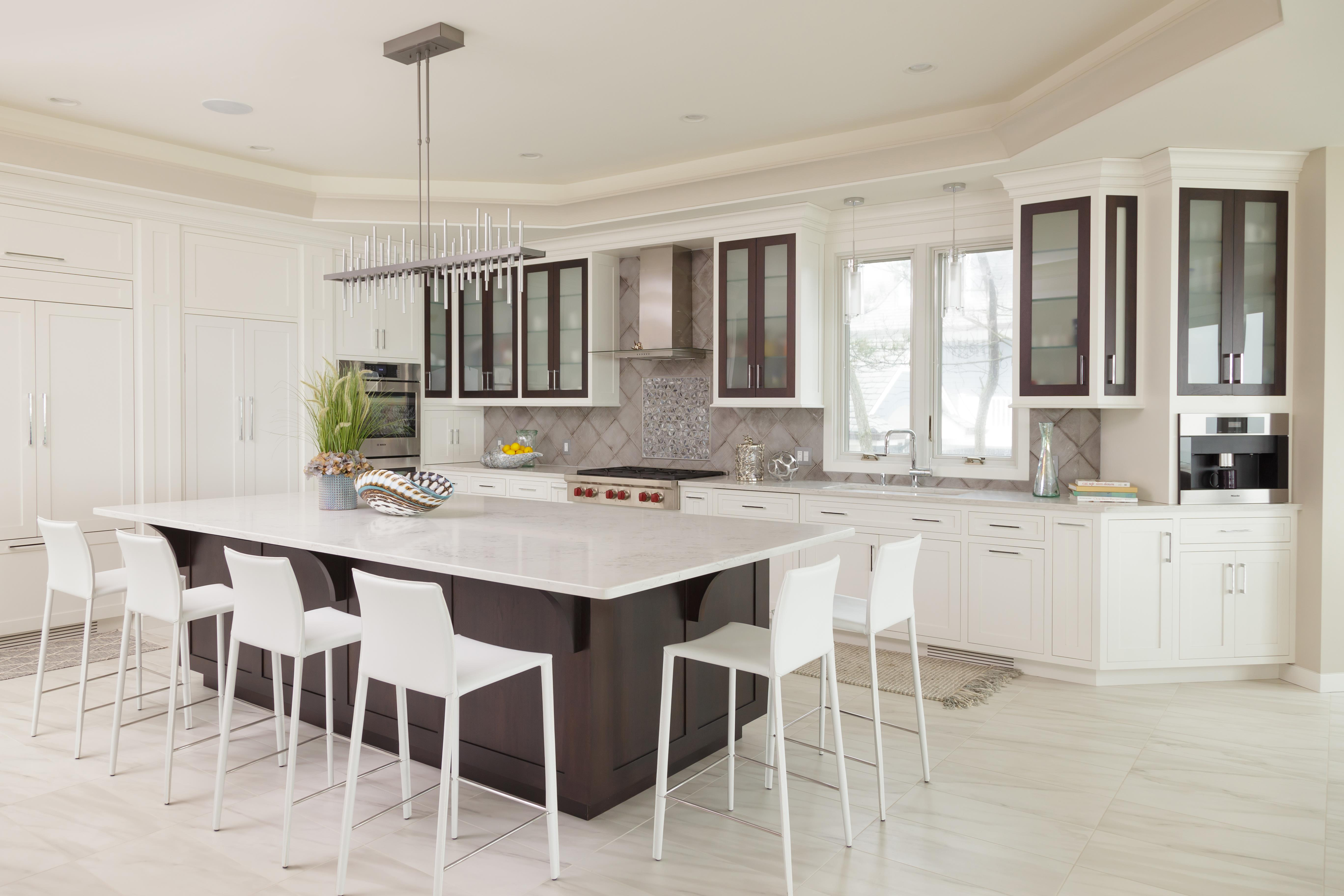 beaded inset white painted cabinets with stained walnut accents beaded inset white painted cabinets with stained walnut accents