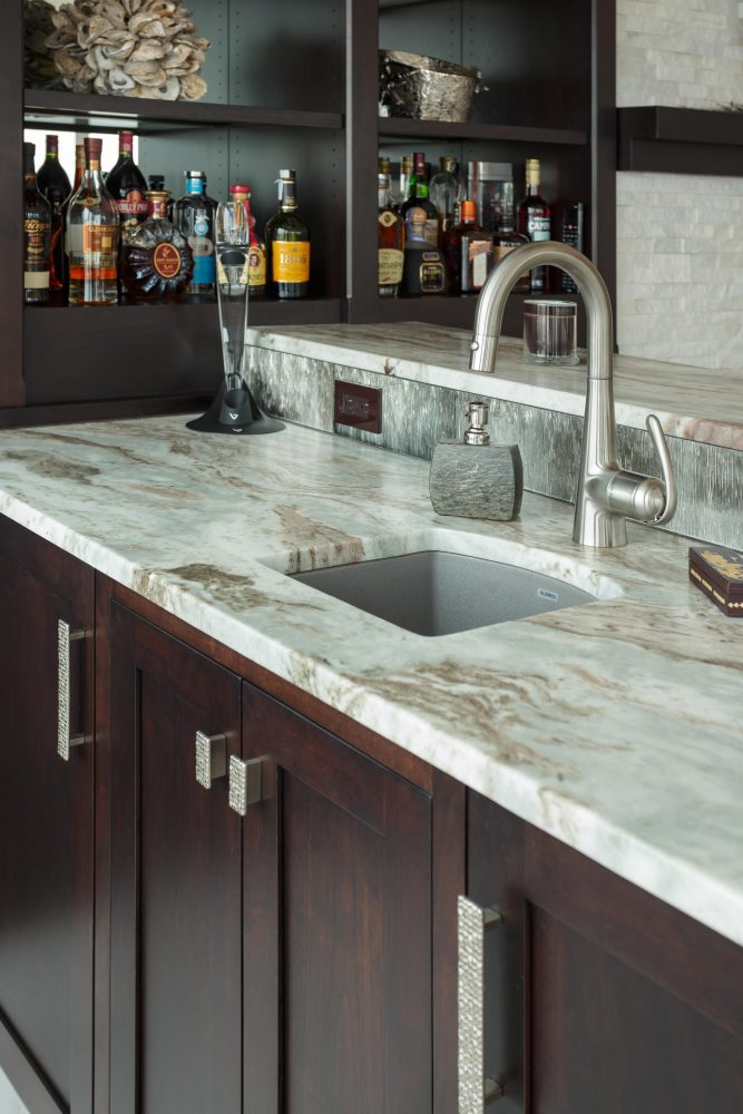 Wetbar Area with Undermounted Sink and Granite Counters