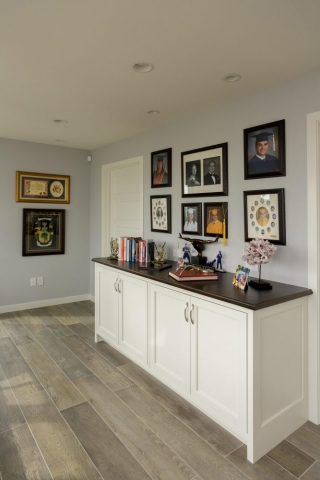 Beaded Inset White Painted Cabinets with Stained Walnut Accents