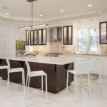 Custom Kitchen Cabinetry White Paint With Walnut Stained Accents